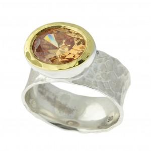 טבעת כסף בשילוב יהלום